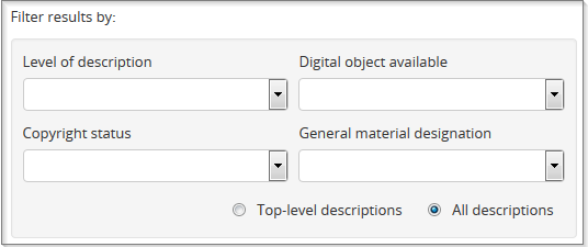 Filters section of advanced search form